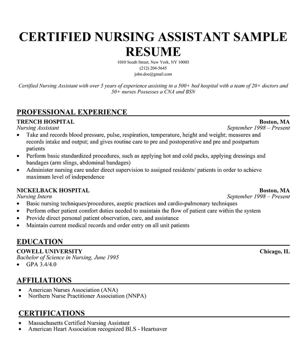 cna resume resume cv cover letter - Sample Certified Nursing Assistant Resume