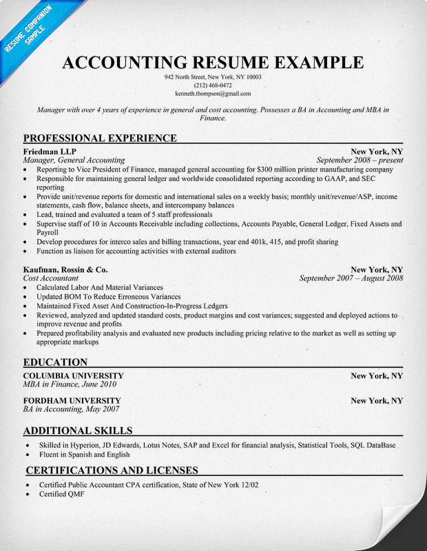 free resume samples for accounting jobs